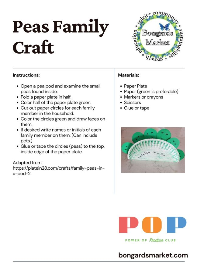 PoP Club Peas Craft